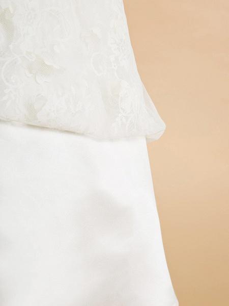 A-Line Tea Length Wedding / First Communion Flower Girl Dresses - Lace Sleeveless Jewel Neck With Flower_8
