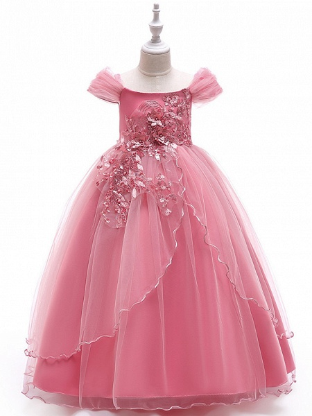 Ball Gown Floor Length Wedding / Party Flower Girl Dresses - Tulle Sleeveless Off Shoulder With Bow(S) / Solid / Tiered_1