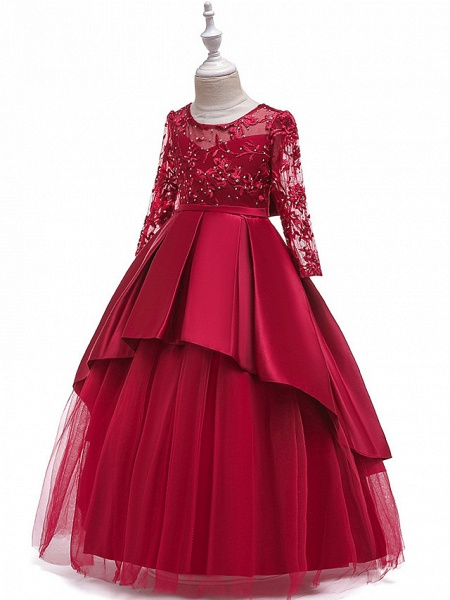 Ball Gown / A-Line Maxi Wedding / Formal Evening / Pageant Flower Girl Dresses - Cotton Blend / Lace 3/4 Length Sleeve Jewel Neck With Lace / Sash / Ribbon / Pleats_2