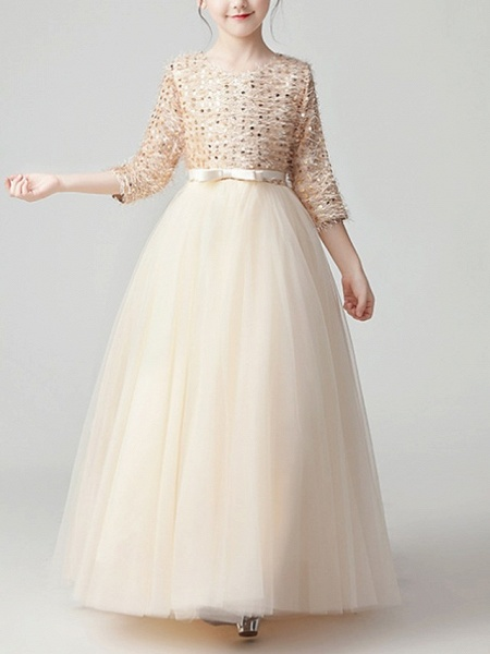 A-Line Floor Length Pageant Flower Girl Dresses - Tulle 3/4 Length Sleeve Jewel Neck With Feathers / Fur / Bow(S) / Paillette_1