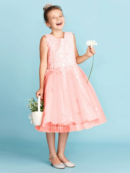Princess / A-Line Jewel Neck Knee Length Lace / Tulle Junior Bridesmaid Dress With Bow(S) / Appliques / Wedding Party_33