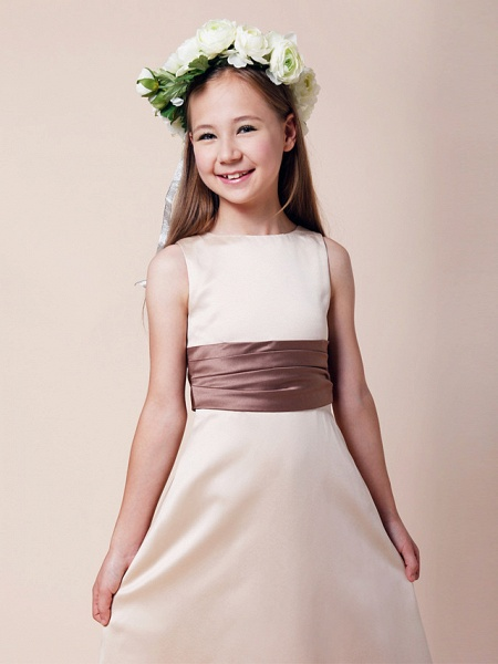 Princess / A-Line Bateau Neck Floor Length Satin Junior Bridesmaid Dress With Sash / Ribbon / Ruched / Spring / Summer / Fall / Winter / Apple_3