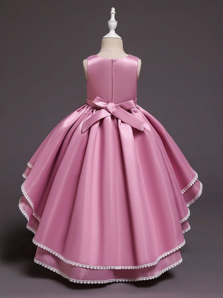 Princess Asymmetrical Wedding / Party / Pageant Flower Girl Dresses - Satin / Tulle Sleeveless Jewel Neck With Lace / Belt / Appliques_4