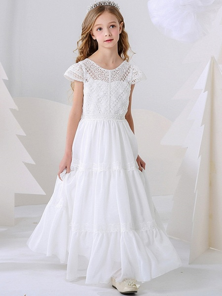 A-Line Floor Length Event / Party / Birthday Flower Girl Dresses - Poly Short Sleeve Jewel Neck With Pleats_2