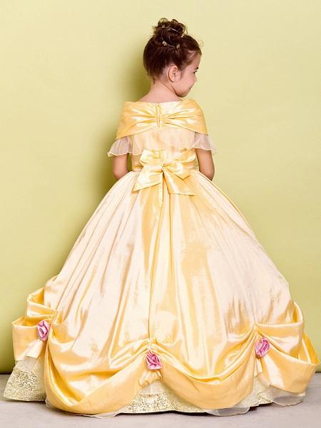 Ball Gown Floor Length Pageant Flower Girl Dresses - Taffeta Sleeveless Off Shoulder With Bow(S) / Flower_3