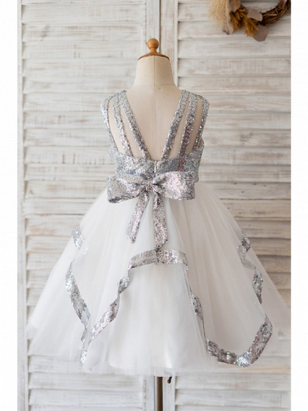 Ball Gown Knee Length Wedding / Birthday Flower Girl Dresses - Tulle / Sequined Sleeveless Jewel Neck With Bow(S)_2
