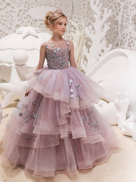 Princess Maxi Party / Birthday / Pageant Flower Girl Dresses - Lace / Organza / Tulle Sleeveless Jewel Neck With Lace / Appliques_1