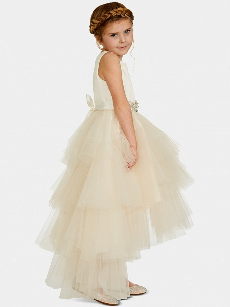 Ball Gown Asymmetrical Wedding / Party Flower Girl Dresses - Satin / Tulle Sleeveless Jewel Neck With Pleats / Tier / Solid_2