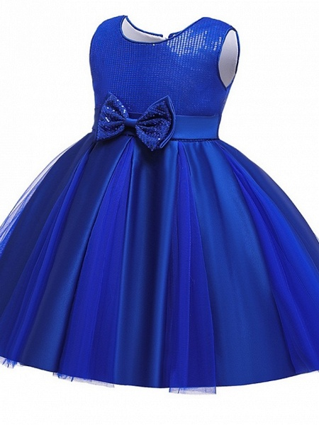 Princess / Ball Gown Knee Length Wedding / Party Flower Girl Dresses - Tulle Sleeveless Jewel Neck With Sash / Ribbon / Bow(S) / Paillette_10