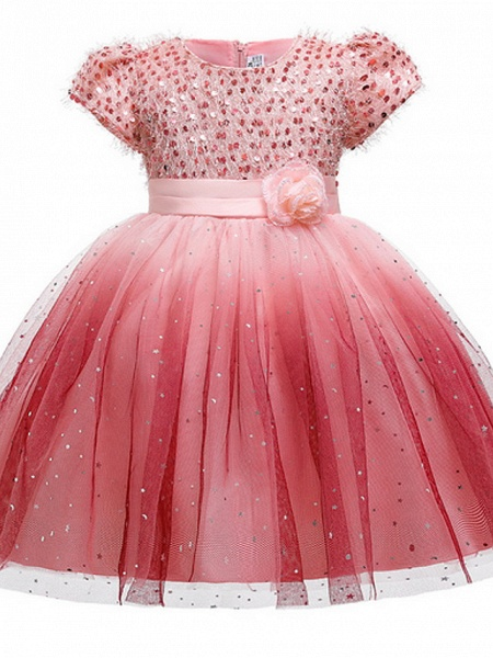 Ball Gown Ankle Length Pageant Flower Girl Dresses - Polyester Short Sleeve Jewel Neck With Beading / Appliques_2