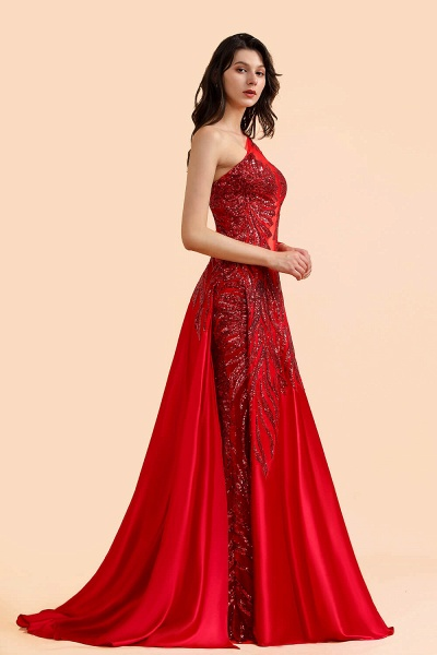 One Shoulder Mermaid Sequins Fuchsia Evening Dresses with Sleeves_5