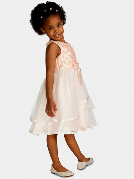 A-Line Knee Length Wedding / Party Flower Girl Dresses - Satin / Tulle Sleeveless Jewel Neck With Bow(S) / Appliques_4