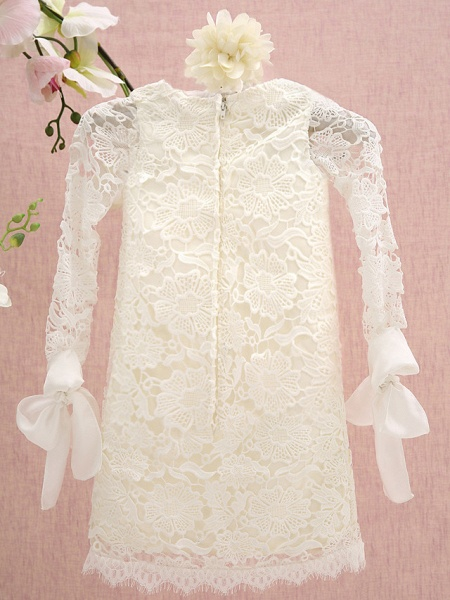 Sheath / Column Knee Length Holiday Flower Girl Dresses - Lace Long Sleeve Jewel Neck With Lace_3