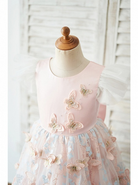 Ball Gown Knee Length Wedding / Birthday Flower Girl Dresses - Tulle Cap Sleeve Jewel Neck With Butterfly Design / Bow(S)_3