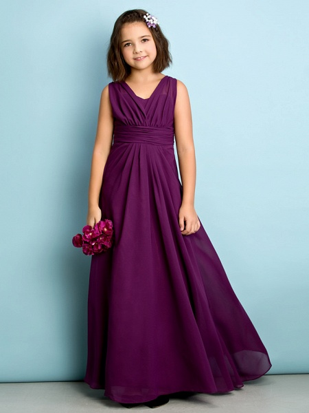 A-Line V Neck Floor Length Chiffon Junior Bridesmaid Dress With Criss Cross / Natural / Mini Me_3
