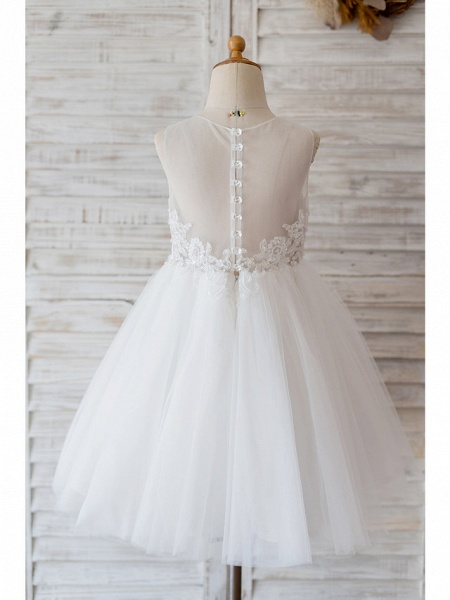 Ball Gown Knee Length Wedding / Birthday Flower Girl Dresses - Lace / Tulle Sleeveless Jewel Neck With Belt / Bow(S) / Buttons_2