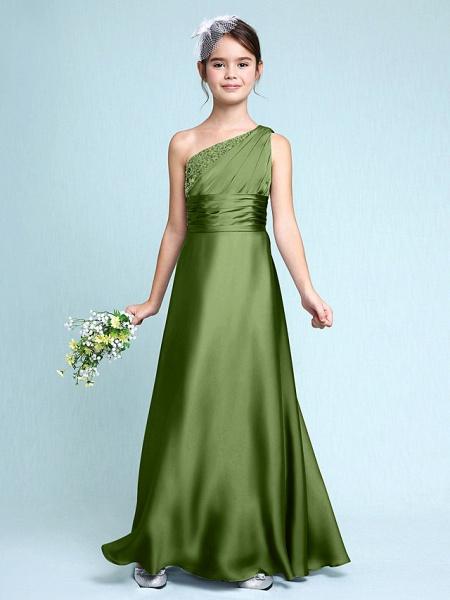 Sheath / Column One Shoulder Floor Length Chiffon Satin Junior Bridesmaid Dress With Ruched / Side Draping / Natural_41
