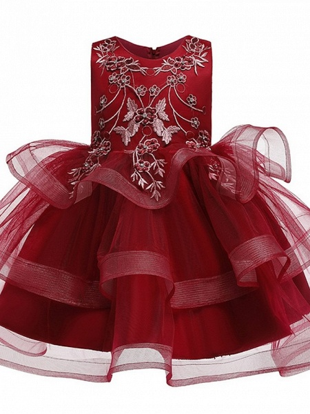 Princess / Ball Gown Knee Length Wedding / Party Flower Girl Dresses - Satin / Tulle Sleeveless Jewel Neck With Bow(S) / Beading / Tier_7