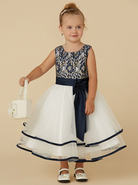 A-Line Tea Length Pageant Flower Girl Dresses - Lace / Tulle Sleeveless Scoop Neck With Sash / Ribbon / Bow(S)_1