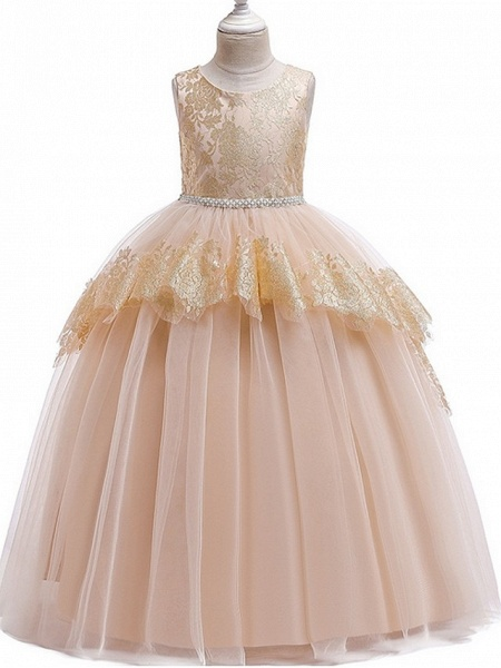Ball Gown Floor Length Pageant Flower Girl Dresses - Tulle Sleeveless Jewel Neck With Lace / Bow(S)_4