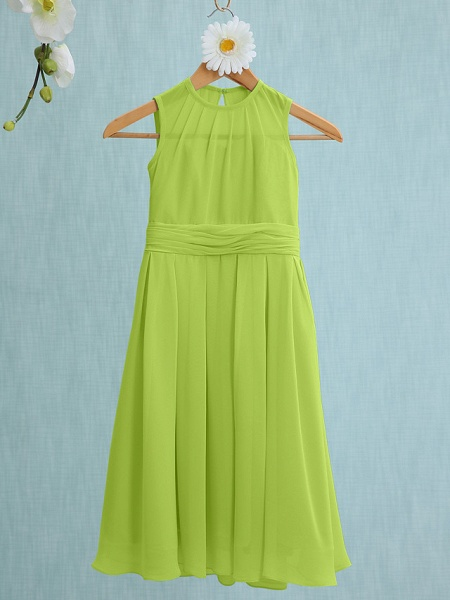 Sheath / Column Jewel Neck Knee Length Chiffon Junior Bridesmaid Dress With Ruched / Natural_26
