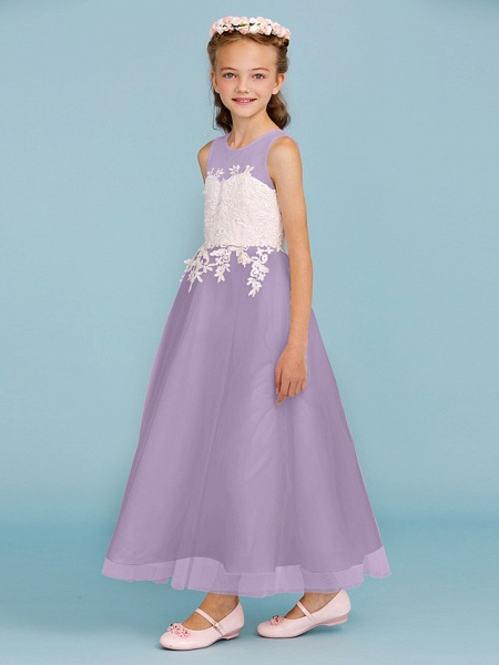 Princess / A-Line Jewel Neck Ankle Length Lace / Tulle Junior Bridesmaid Dress With Sash / Ribbon / Appliques / Wedding Party / Open Back_31