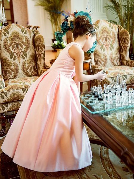 Princess / A-Line Floor Length First Communion Flower Girl Dresses - Satin Sleeveless Jewel Neck With Sash / Ribbon / Flower_4