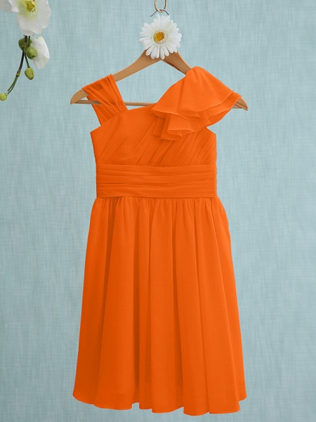 Sheath / Column Straps Knee Length Chiffon Junior Bridesmaid Dress With Ruffles / Side Draping / Natural_15