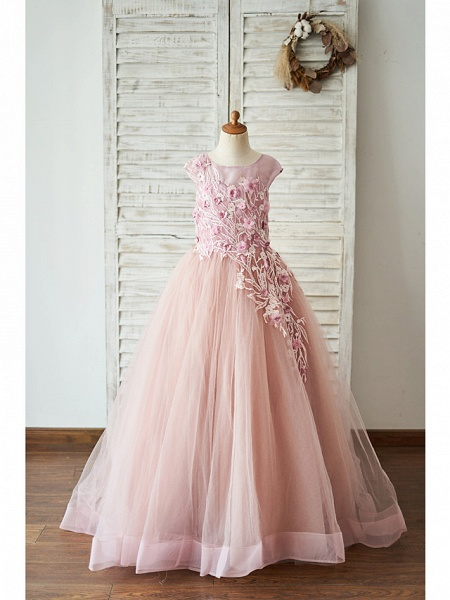 Ball Gown Floor Length Wedding / Birthday Flower Girl Dresses - Lace / Tulle Sleeveless Jewel Neck With Lace / Pearls / Flower_1