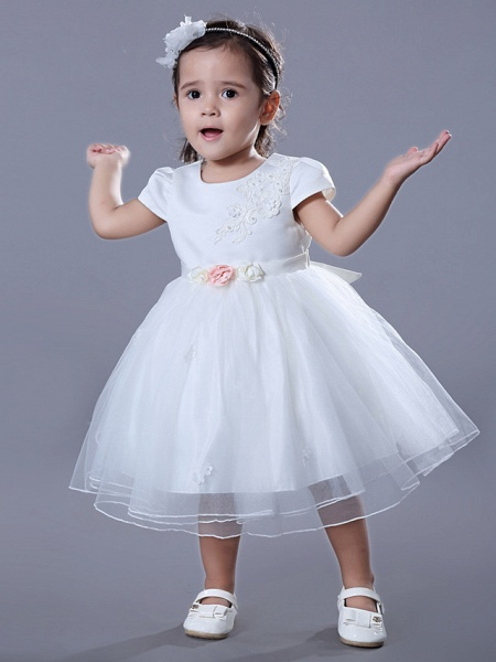 Ball Gown Medium Length Wedding / Birthday Flower Girl Dresses - Satin / Tulle Short Sleeve Jewel Neck With Beading / Embroidery / Flower_3