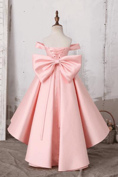 Off The Shoulder Cute Bow Ruffles Flower Girl Dress_3