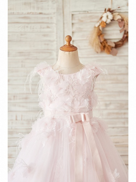 Ball Gown Tea Length Wedding / Birthday Flower Girl Dresses - Satin / Tulle Sleeveless Jewel Neck With Feathers / Fur / Lace / Belt_3