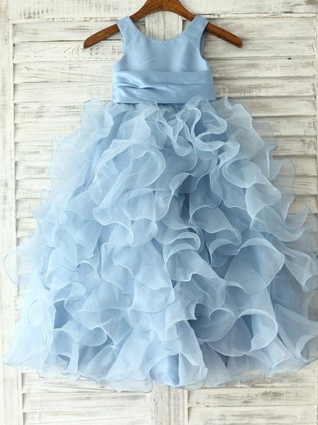 Princess / Sheath / Column Floor Length Pageant Flower Girl Dresses - Organza Sleeveless Jewel Neck With Sash / Ribbon / Flower_1