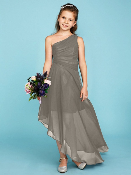 A-Line One Shoulder Asymmetrical Chiffon Junior Bridesmaid Dress With Side Draping / Wedding Party_10