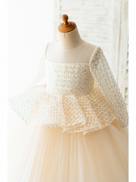 Ball Gown Sweep / Brush Train / Knee Length Wedding / Birthday Flower Girl Dresses - Tulle / Sequined Long Sleeve Jewel Neck With Bow(S)_3