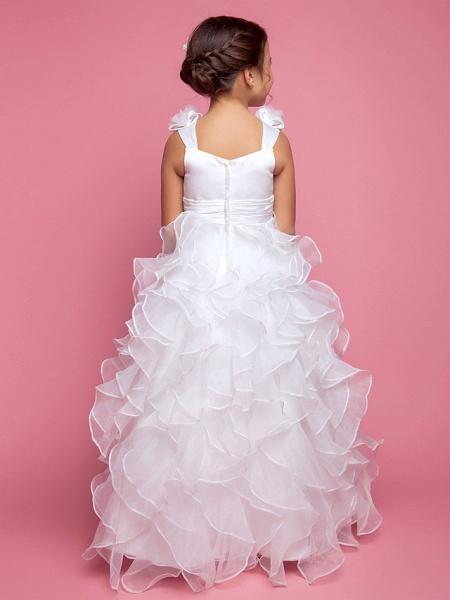 Princess / A-Line Floor Length Organza / Satin Sleeveless Straps With Sash / Ribbon / Ruched / Cascading Ruffles_3