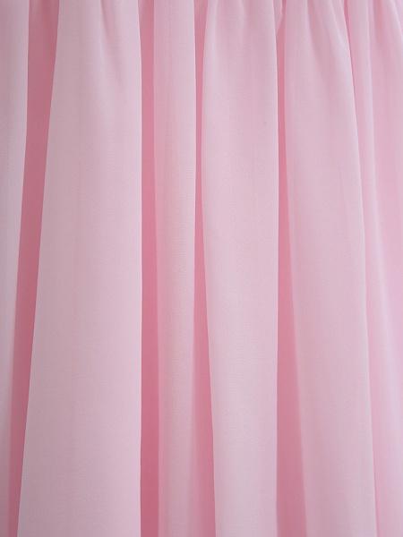 Sheath / Column Straps Knee Length Chiffon Junior Bridesmaid Dress With Ruffles / Side Draping / Natural_4