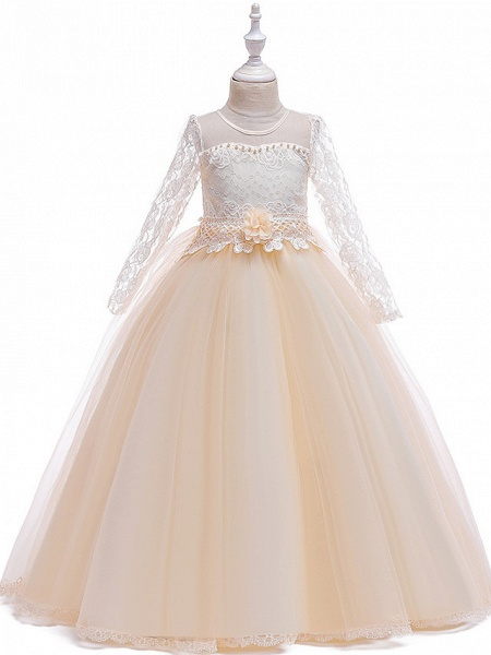 Princess Long Length Party / Pageant Flower Girl Dresses - Poly / Polyester / Cotton / Lace Long Sleeve Jewel Neck With Butterfly Design / Sash / Ribbon / Beading_4