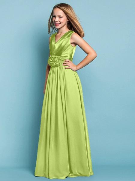 Sheath / Column V Neck Floor Length Chiffon Junior Bridesmaid Dress With Flower / Spring / Summer / Fall / Apple / Hourglass_30