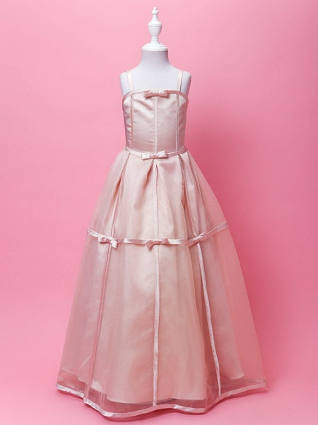 Princess / A-Line Floor Length Wedding Party Organza / Stretch Satin Sleeveless Spaghetti Strap With Sash / Ribbon / Bow(S) / Buttons / Spring / Fall / Winter_9
