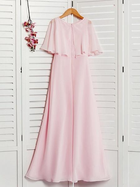 A-Line Jewel Neck Maxi Chiffon Junior Bridesmaid Dress With Ruffles_2
