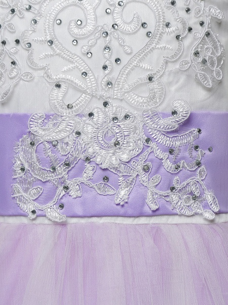 Princess Maxi Wedding / Birthday / Pageant Flower Girl Dresses - Lace / Tulle Sleeveless Jewel Neck With Lace / Bow(S) / Paillette_7