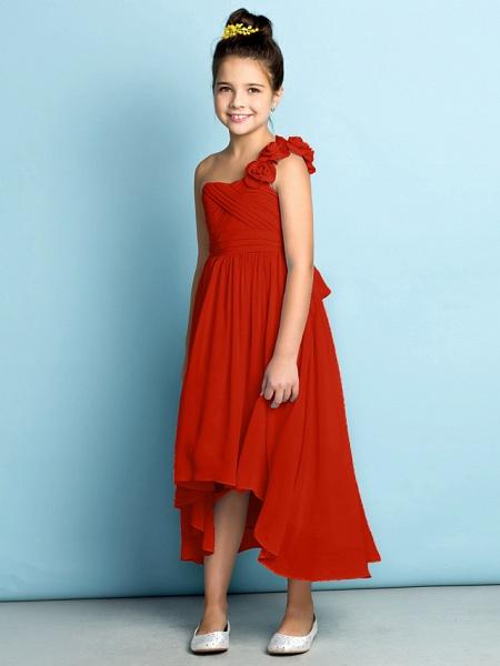 A-Line One Shoulder Asymmetrical Chiffon Junior Bridesmaid Dress With Criss Cross / Flower / Natural / Mini Me_17