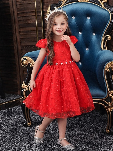 Princess / Ball Gown Knee Length Wedding / Party Flower Girl Dresses - Tulle Cap Sleeve Jewel Neck With Sash / Ribbon / Bow(S) / Embroidery_3
