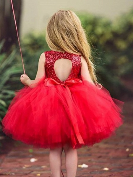 Ball Gown Knee Length Wedding / Party Flower Girl Dresses - Tulle Sleeveless Jewel Neck With Paillette_3