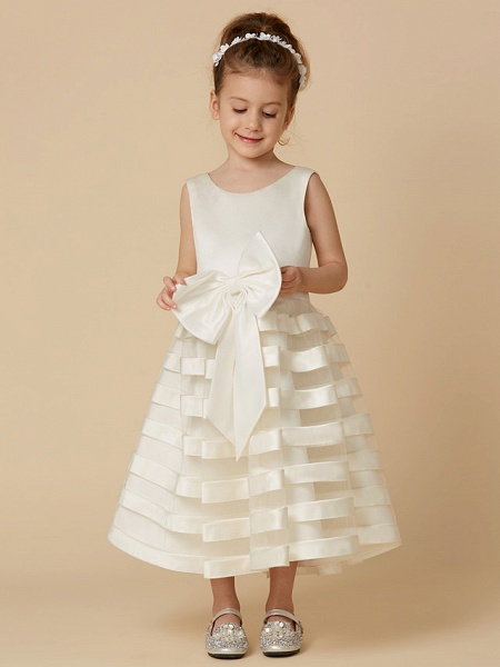 A-Line Tea Length Wedding / First Communion Flower Girl Dresses - Satin / Tulle Sleeveless Jewel Neck With Bow(S)_1
