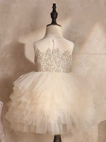 Ball Gown Knee Length Pageant Flower Girl Dresses - Polyester Sleeveless Jewel Neck With Pick Up Skirt / Appliques_3