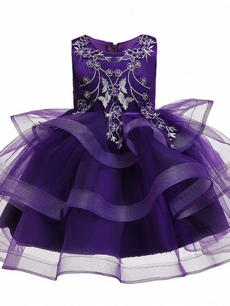 Princess / Ball Gown Knee Length Wedding / Party Flower Girl Dresses - Satin / Tulle Sleeveless Jewel Neck With Bow(S) / Beading / Tier_6