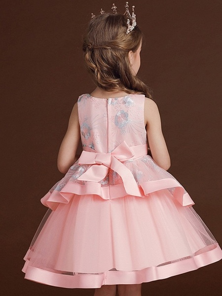 Princess / Ball Gown Knee Length Wedding / Party Flower Girl Dresses - Tulle Sleeveless Jewel Neck With Bow(S) / Tier / Embroidery_6