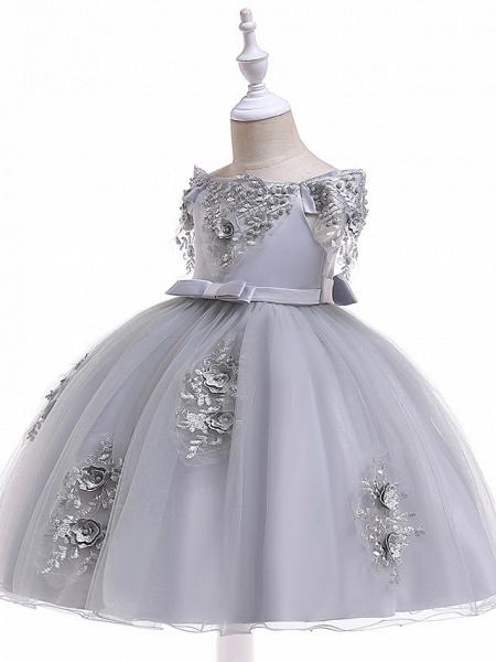 A-Line Knee Length Wedding / Birthday / Pageant Flower Girl Dresses - Tulle Short Sleeve Off Shoulder With Petal / Sash / Ribbon / Trim_8